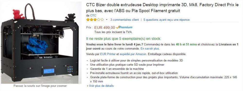 CTC Bizer double extrudeuse Desktop imprimante 3D, Mk8, Factory Direct Prix le plus bas, avec l'ABS ou Pla Spool Filament gratuit .jpg