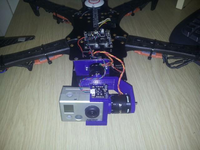 Support GoPro avec stabilisateur pour drone TBS Discovery en pièces détachées installé