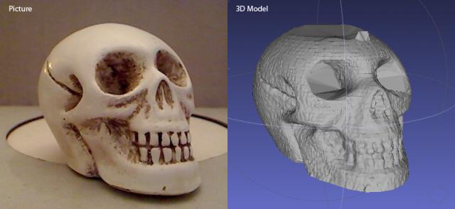 Crâne scanné en 3D avec FabScan