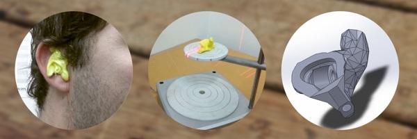 Oreille scannée pour des écouteurs 3D