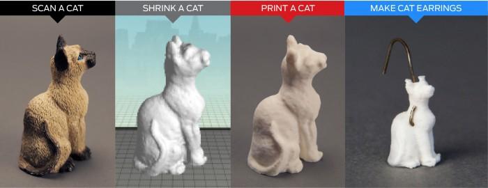 Chat scanné en 3D et imprimé en 3D