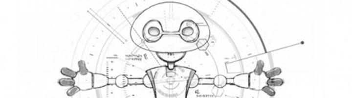 Croquis de Jimmy le robot imprimé en 3D