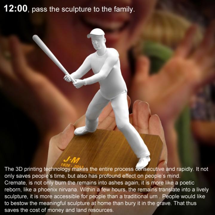 Statuette d'un joueur de baseball imprimé en 3D avec ses cendres funéraires
