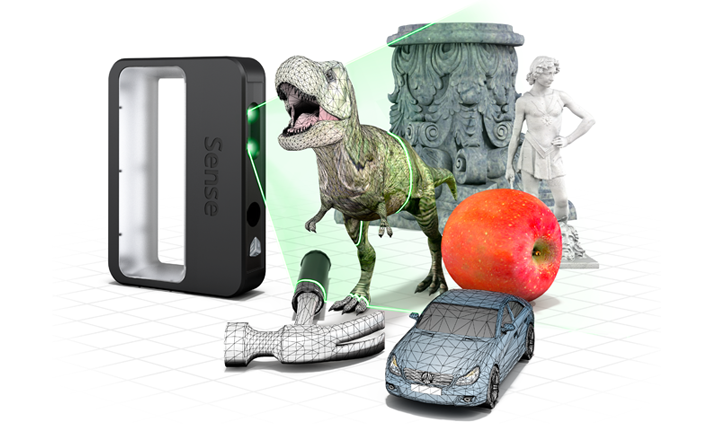 Objets scannés en 3D avec Sense