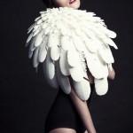 3Dprinted fashion photo défilé mode imprimante 3D plumes poule