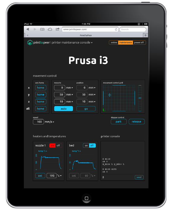 Interface WEB PrintToPeer sur iPad