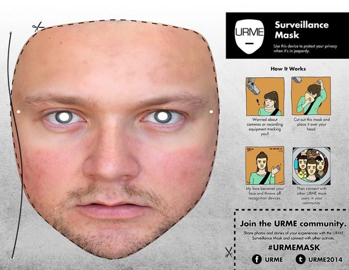 Principe de fonctionnement du masque anti surveillance URME