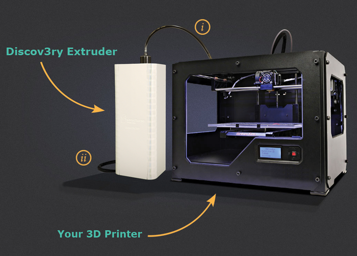 L'extrudeur Discov3ry installé sur une Makerbot