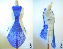 La robe SHIGO imprimée en 3D sur un mannequin couture