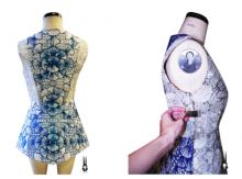 Patron de la robe SHIGO dessinée en 3D sur un mannequin couture
