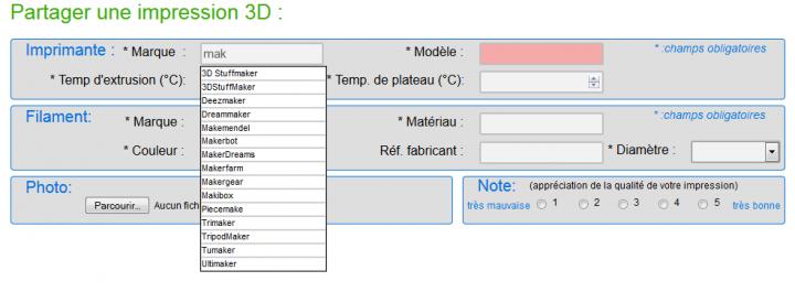 Partager les paramètres d'impression 3D