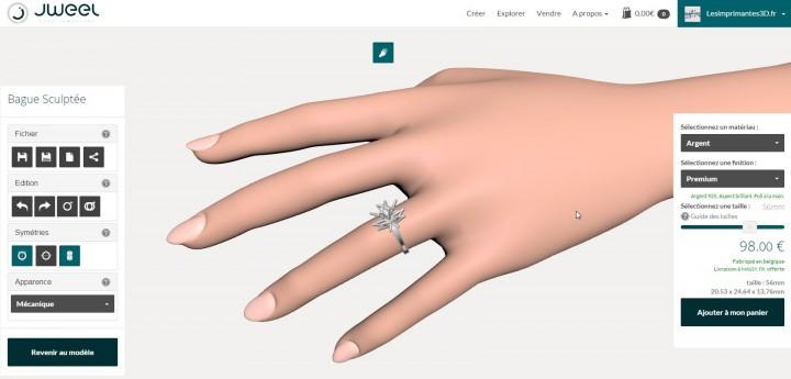 Prévisualiser la bague sur une main virtuelle