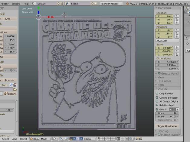 Couverture Charia Hebdo du journal Charlie Hebdo en 3D