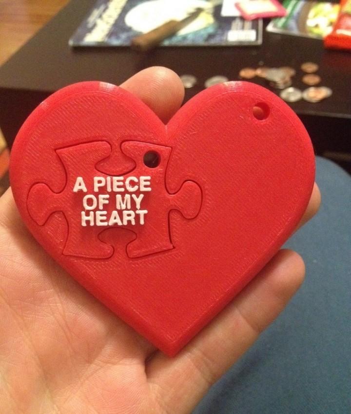 Puzzle coeur imprimé en 3D pour la Saint Valentin