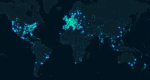 Carte du monde de l'impression 3D sur 3D Hubs