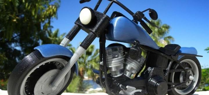 photo moto Harley Davidson Fat Boy miniature imprimée en 3D