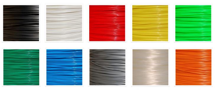 Les couleurs de Filo3D disponibles