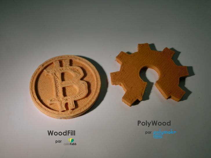 Pièces imprimées en filaments bois WoodFill et PolyWood
