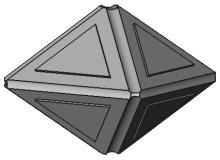 Cristal représenté en négatif