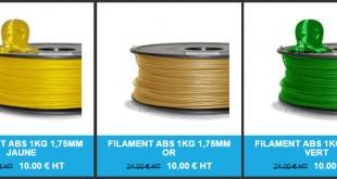 promo soldes filament ABS PLA acheter pas cher