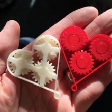 engrenages coeurs imprimés en 3D pour la saint valentin