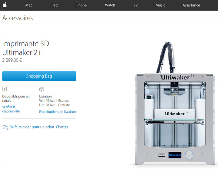 magasin Apple store imprimante 3D Ultimaker 2+