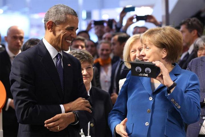 Barack Obama Angela Merkel Cardboard
