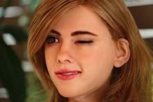 Visage du robot humanoide Scarlett Johansson
