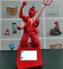 football diable rouge imprimé en 3D