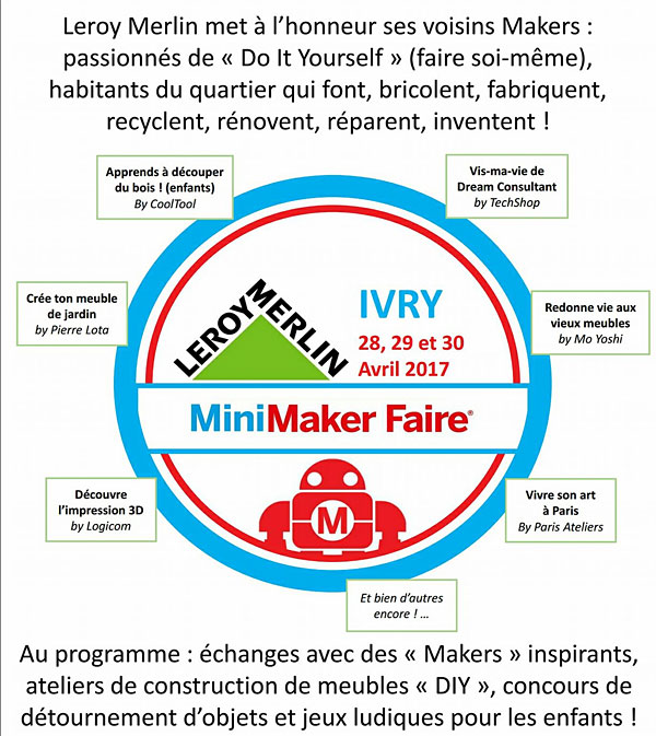 mini maker faire leroy merlin ivry sur seine les imprimantes 3d fr. Black Bedroom Furniture Sets. Home Design Ideas