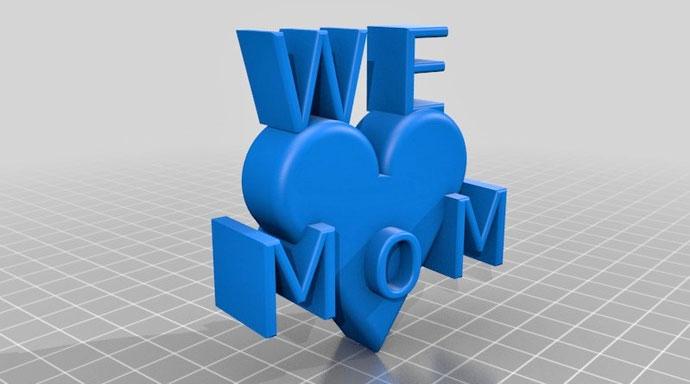 objet imprimer 3D fete des meres coeur love maman