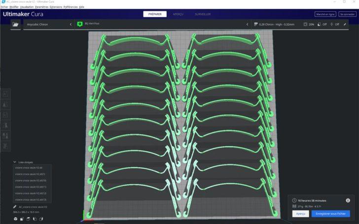 cura 20 visieres 3D shield