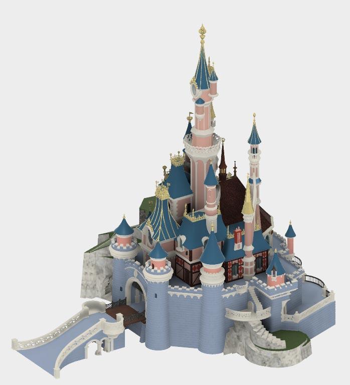 maquette chateau belle au bois dormant 3D