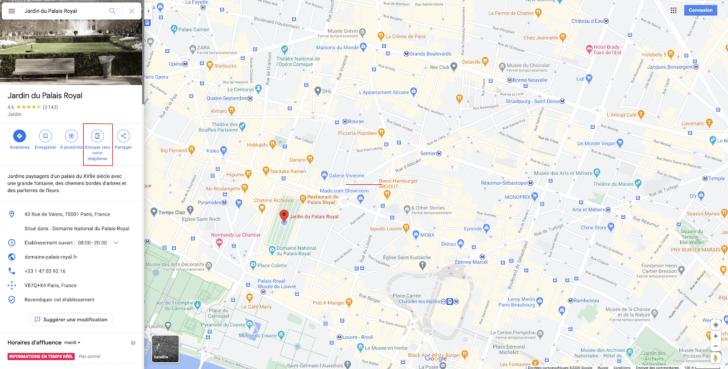 tuto google maps envoyer adresse sur téléphone