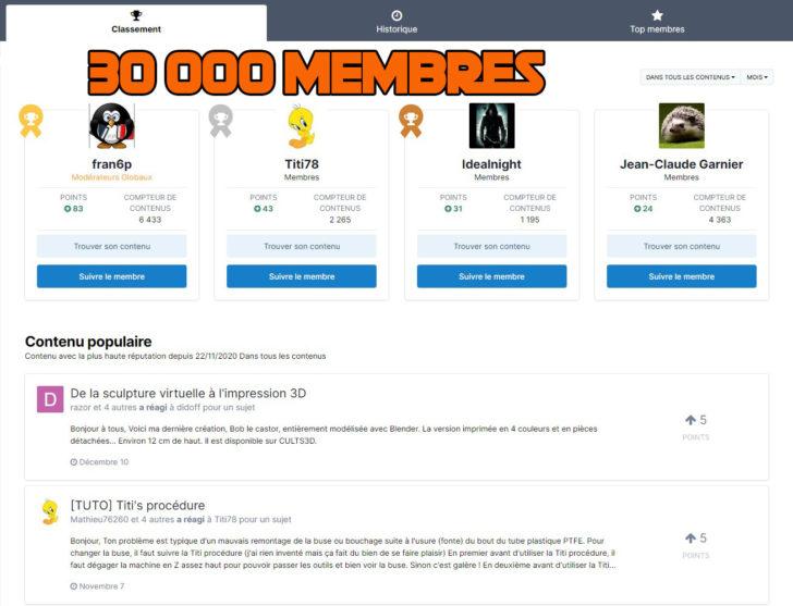forum 30 000 membres