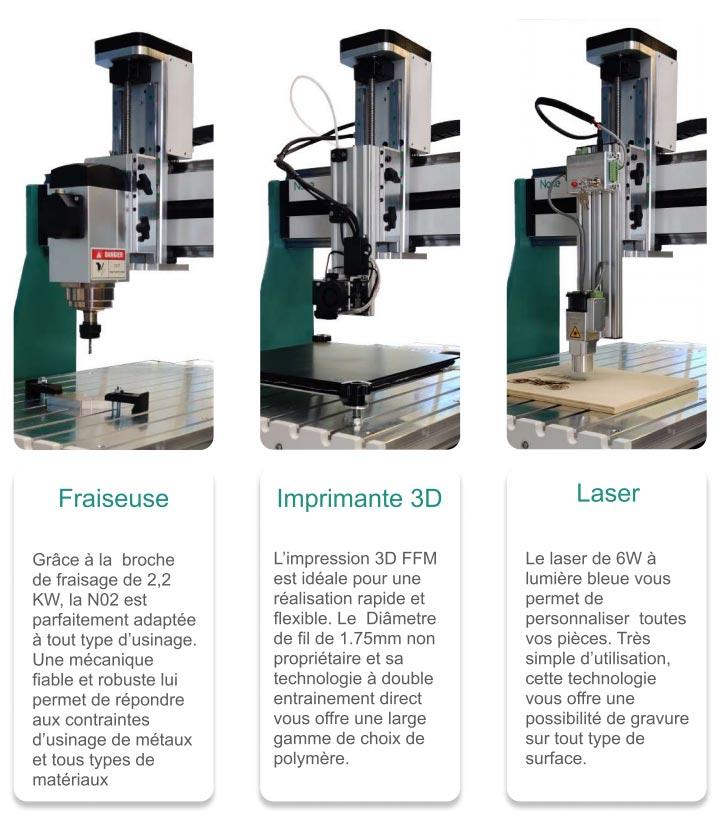 Naxe N02 imprimante 3D CNC gravure laser