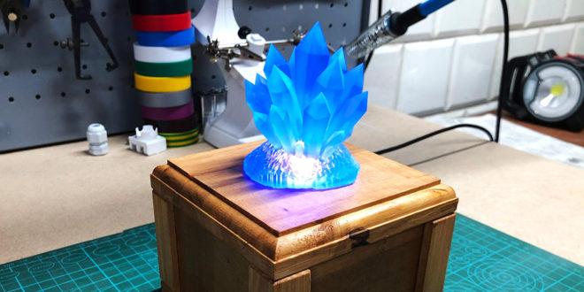 veilleuse crystaux imprimée en 3d