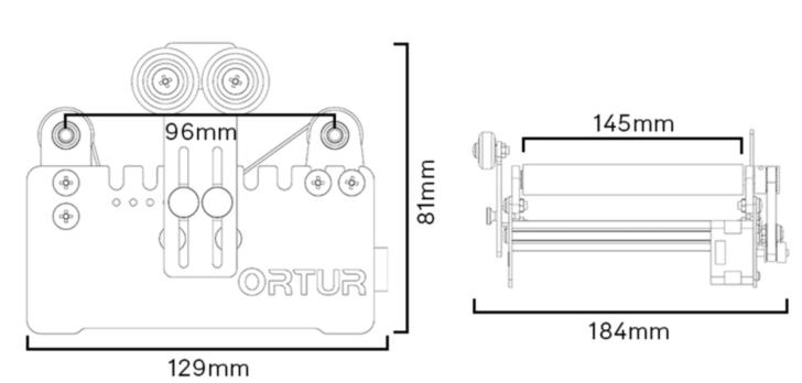 Dimensions du rotary