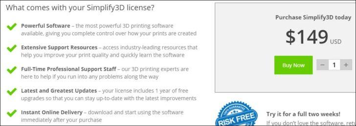 Simplify3D licence 150 dollars